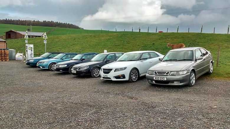 Saab mini-meet by the Scottish Saab Enthusiasts group