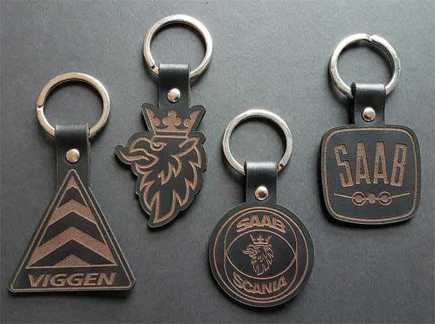 Luxury Leather SAAB Inspired Keyrings and Accessories