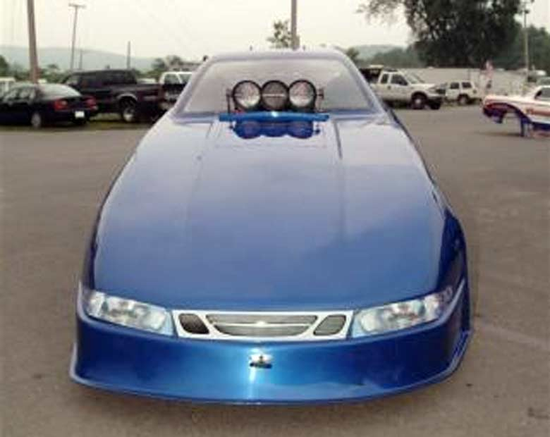 Drag racer with Saab front