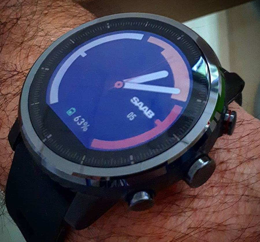 Pre-final version of the design of the Saab Watch Face in the Saab 99 Turbo style