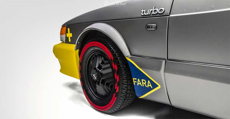 Saab vinyl wrapped like Viggen jet fighter