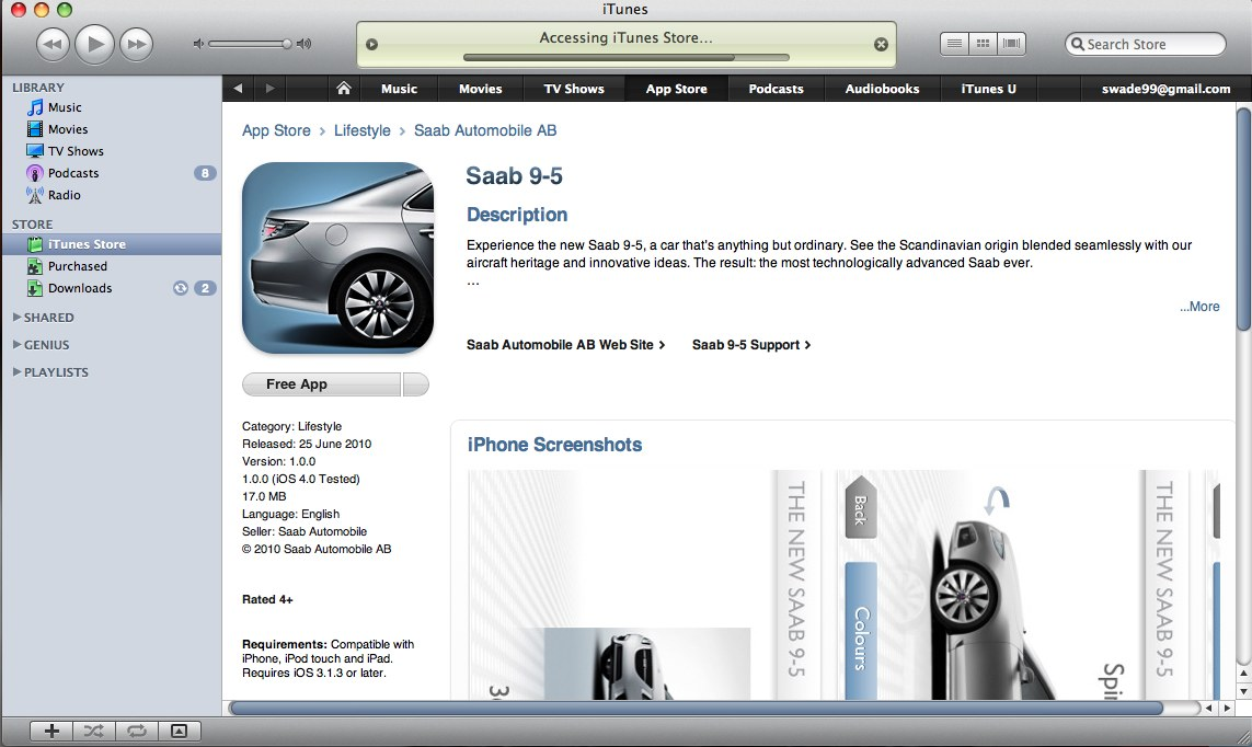 Saab iPhone app