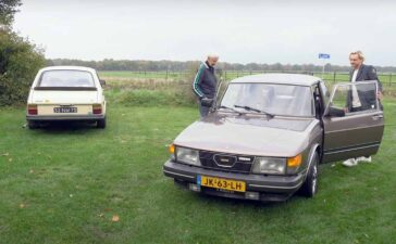 Grandfather, grandson and Saab 900