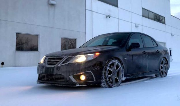 custom saab 9 3 turbo x griffin drifting in the snow. Black Bedroom Furniture Sets. Home Design Ideas