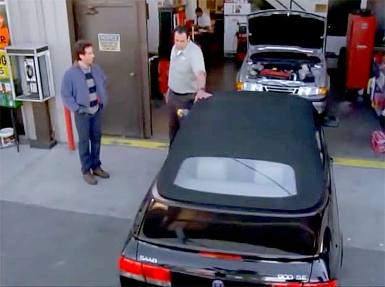 Jerry Seinfeld's Saab 900 in service center