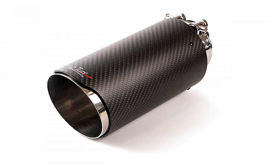 Stainless steel tail pipe with carbon fiber cover