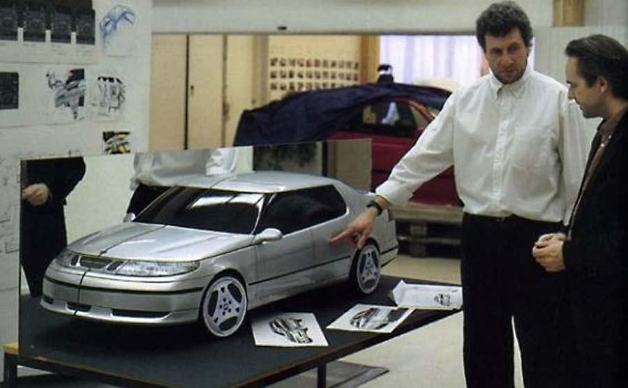 Tony Catignani next to the 9-5 prototype