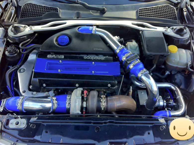 Tuned Saab engine