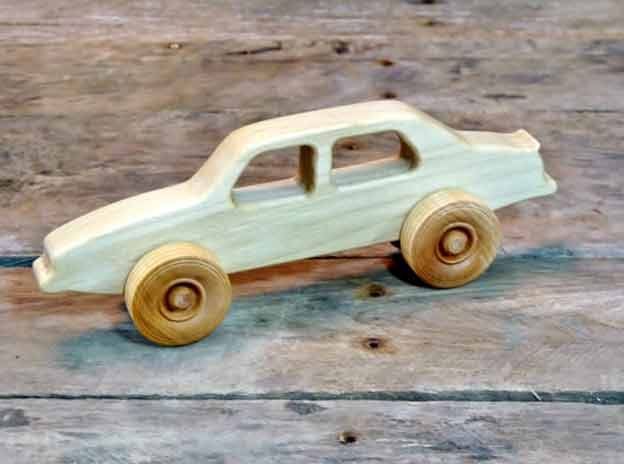 Wooden Saab 900 Toy Car