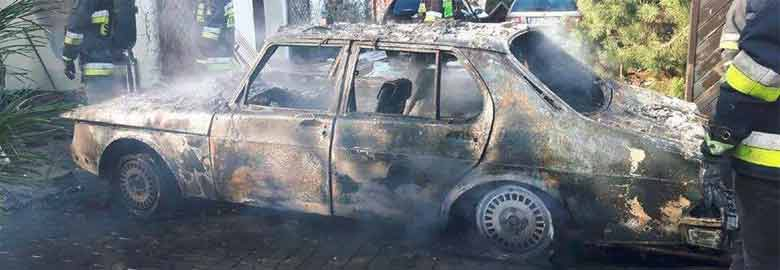 Burned Saab 900 from Poland