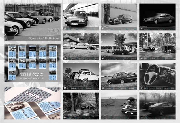 B/W Saab Calendar for 2016
