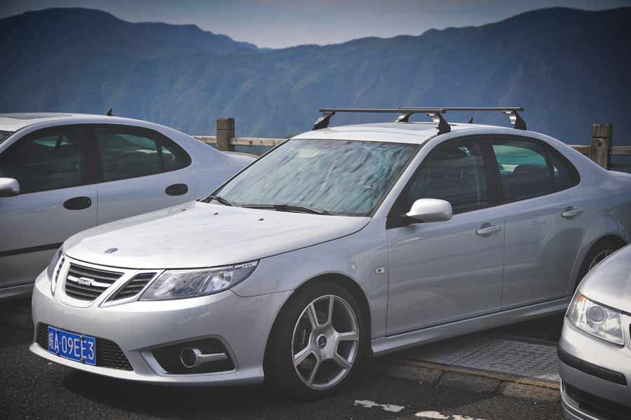 This Saab has wheels that Kay created based on the famous Turbo X alu wheels
