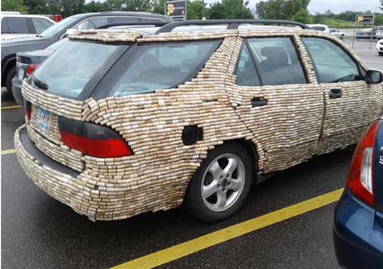 Saab 9-5 Wagon Covered in Corks
