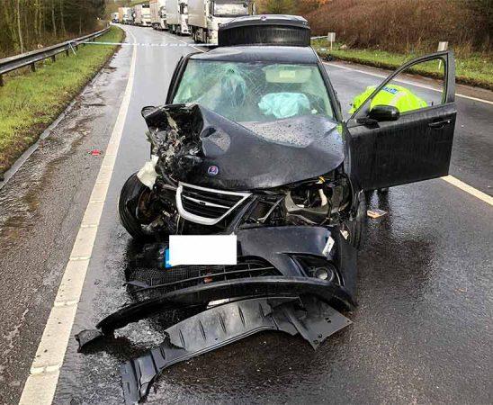 Crashed Saab 9-3 after accident
