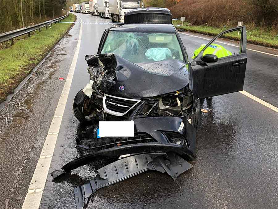 Crashed Saab 9-3 after accident