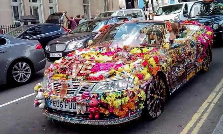 Crazy Decorated Saab Convertible