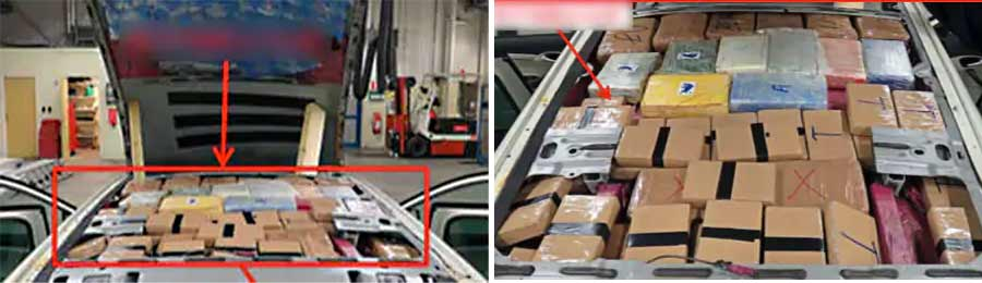 Here, are cocaine and heroin in the roof of a Saab SportWagon, a drug worth 30 million kroner