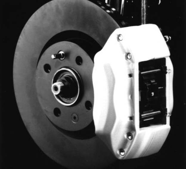 high-performance aluminum brakes with 4-piston calipers