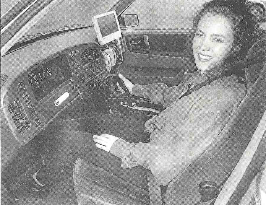 Newspaper clipping from the Daily Telegraph 11th March 1992 - Car without a steering wheel joins the jet set.