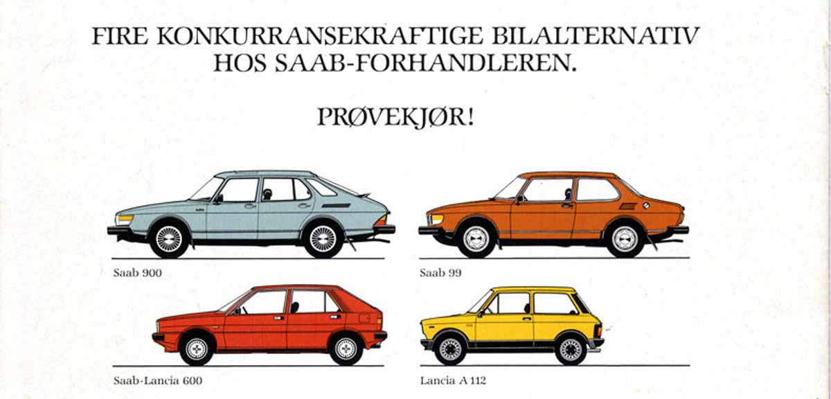 Lancia A112 in the official promotion and offer of Saab in the north of Europe