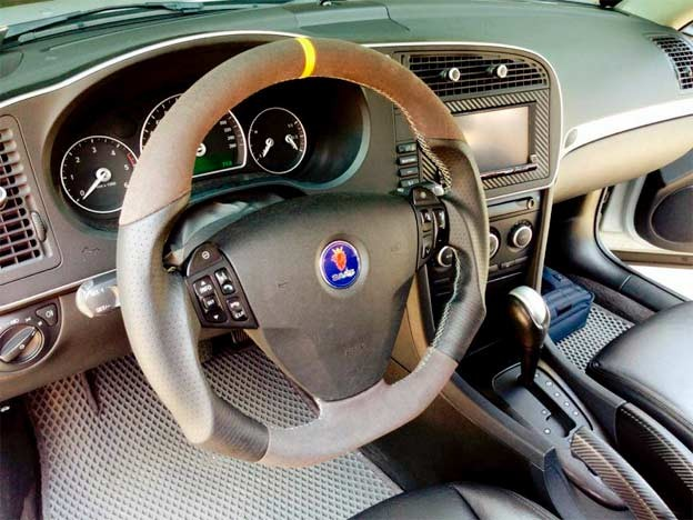 Custom Leather Saab steering wheel