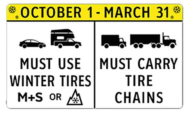 Did you know that across the majority of B.C. highways during the period of October 1st – March 31st that it's mandatory to use either certified winter tires or chains while out on the road?