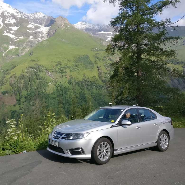 Nevs 9-3 EV in Austrian Alps