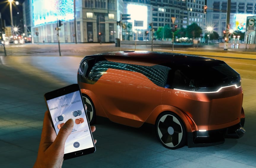 NEVS self-driving mobility concept and the service order APP.