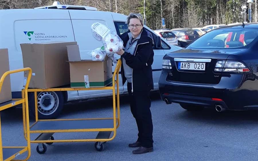 Ingrid Svensson, Health and Safety Manager at NEVS, providing protection material to the health authorities.