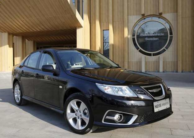 NEVS Saab 9-3 EV at NEVS Beijing headquarters building