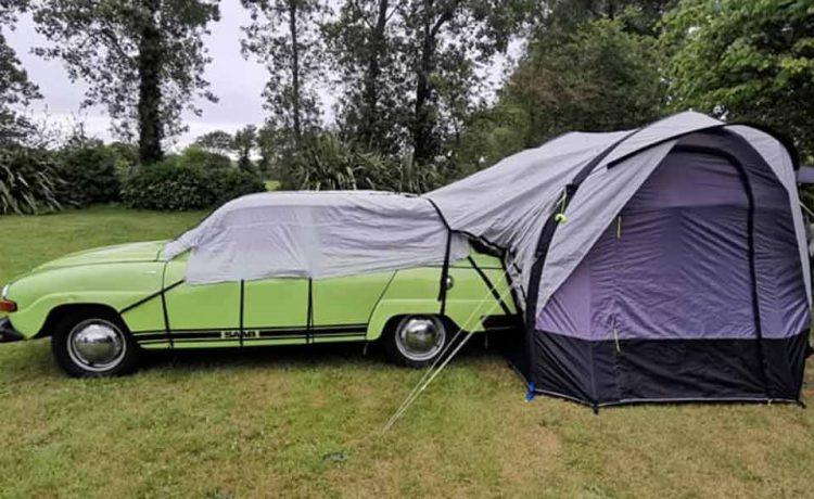 opal green saab 95 mico camper