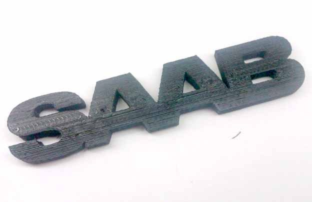 Printed 3D Saab logo
