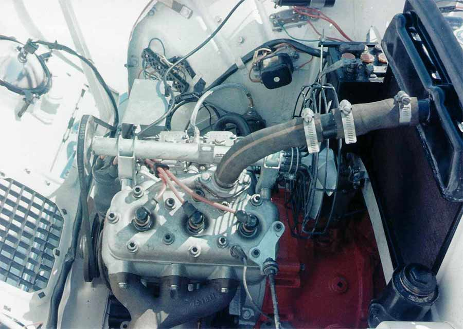 940cc 2-stroke engine provided by Saab competition department in Trollhattan, under direction of Rolf Mellde.