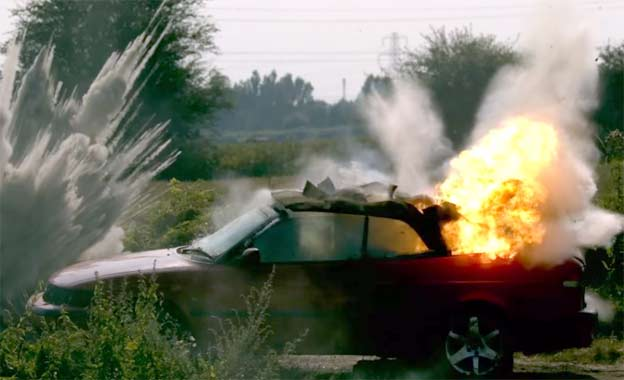 Saab 9-3 Convertible Exploding in Slow Motion