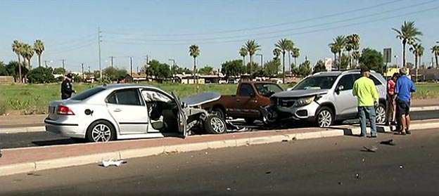 Phoenix Nissan Wrong-way SAAB teenager driver allegedly causes 5-car crash