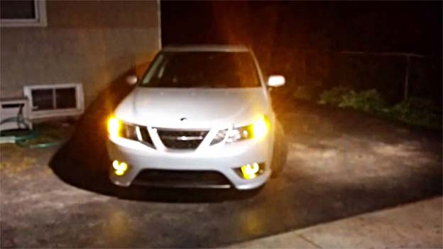 Saab 9-3 with Morimoto Angel Eyes
