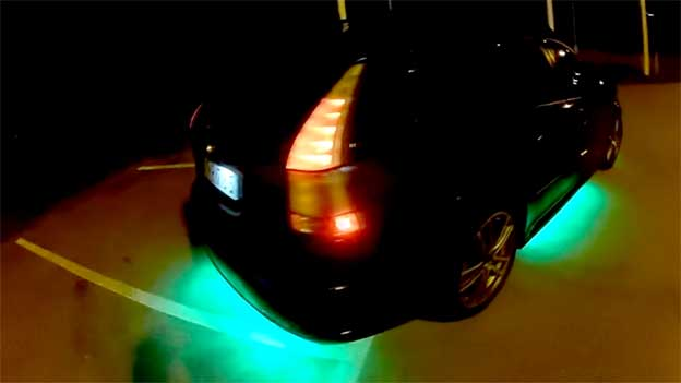 Saab 9-3 with undercar LED lights