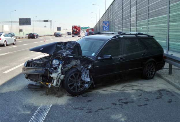 Saab 9-5 after collision