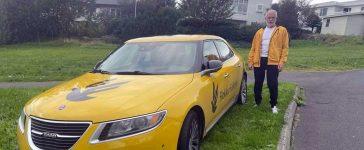 Tomas Tomasson and his favorite Saab 9-5ng