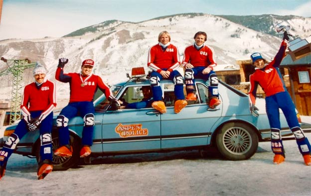 Saab 900 and Aspen Police ski team