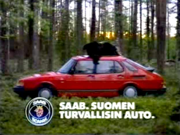 Saab 900 and bear in TV Commercial