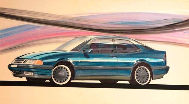 Saab 9000 coupe concept sketch
