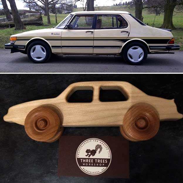 Saab 900 wooden toy car