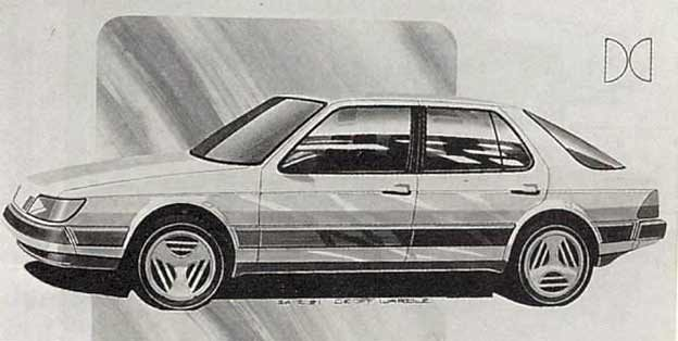 Sketches Saab 9000 model prototype