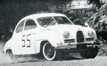 Early model little white Saab make its debut at Cloudbank, New York hill climb