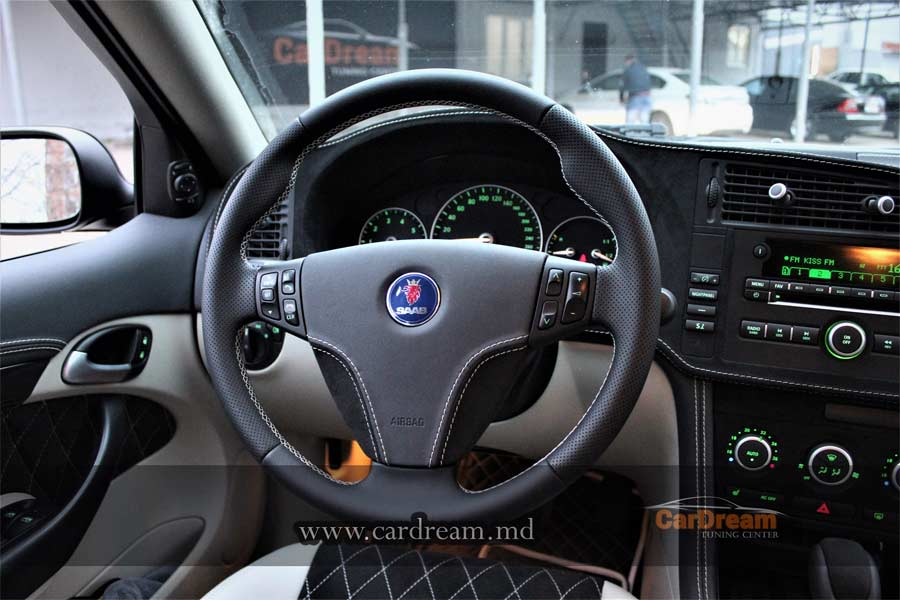 New Leater steering wheel for Saab
