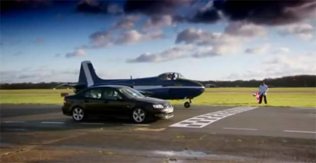 Unseen Saab 9-3 vs. Jet Fighter Race