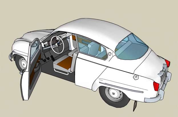 Saab 96 in 3D Google Sketchup