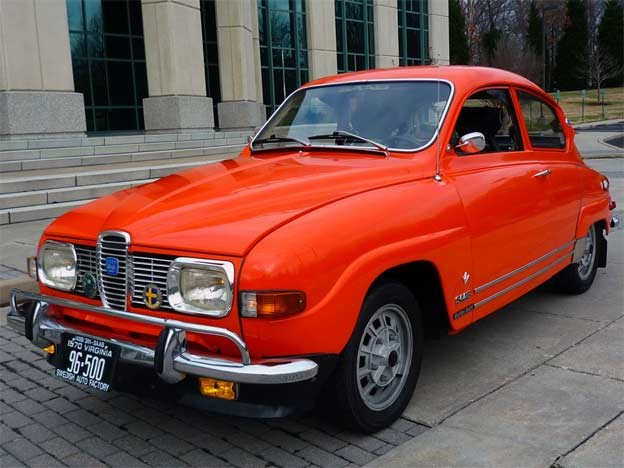 Saab 96 has had one repaint in the original SAAB competition orange