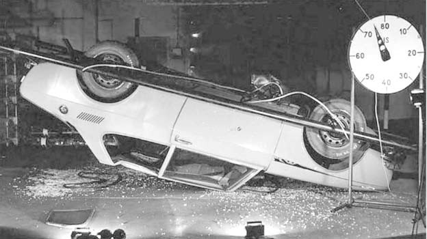 Saab 99 drop test - after falling from a height of 2.4 meters